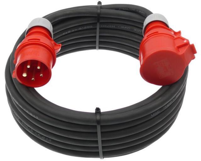 CEE Starkstromkabel Verlängerungskabel 16A 5x1,5 / 5x2,5 ww. Phasenwender 5-50m