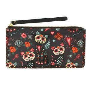 f25f0ae0c8d Day of the Dead Cat Wristlet Wallet Coin Purse Pouch DOD Sugar Skull ...