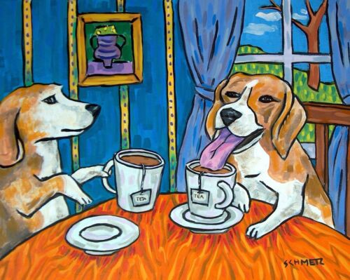 BEAGLE tea poster animal  pet DOG art PRINT abstract folk pop ART JSCHMETZ