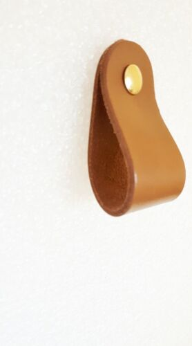 Leather Rich Caramel-Drawer-Cupboard-Kitchen HANDLE 25mmx55mm 3 SCREW COLOURS}