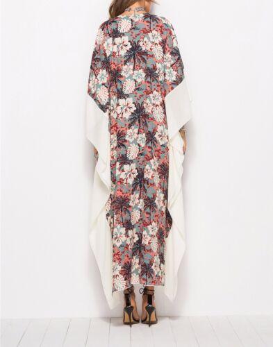 Plus Size Long Maxi Dress Kaftan Floral Print Cream//Grey//Coral Size 12-14-16-18
