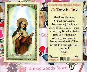 Saint St. Teresa de Avila - prayer - Laminated Holy Card