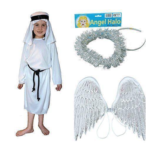 ANGEL GABRIEL LARGE 10-12 YEARS CHILDRENS CHILD NATIVITY FANCY DRESS COSTUME