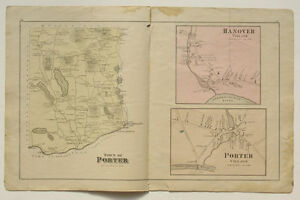 Porter Maine Map.Porter Village Hanover Map Caldwell Halfpenny Atlas Oxford County