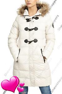 Details zu NEU Damen Gepolsterter Mantel Jacke gesteppt Stein Pelz Parka Größe 8 10 12 14