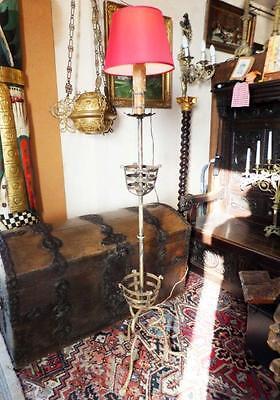 Eisen Standlampe Boden Kerzen Lampe Licht Kunst Stehlammpe Garten Antik Alt Ungleiche Leistung