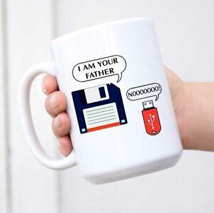 I Am Your Father Retro Floppy Disk USB Coffee Mug - White Mug