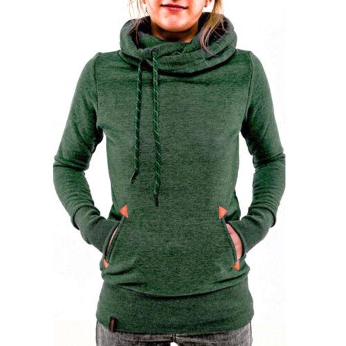 Women Hoodie Sweatshirt Hood Active Wear Pullover Jumper Cowl Neck Tops Size 16