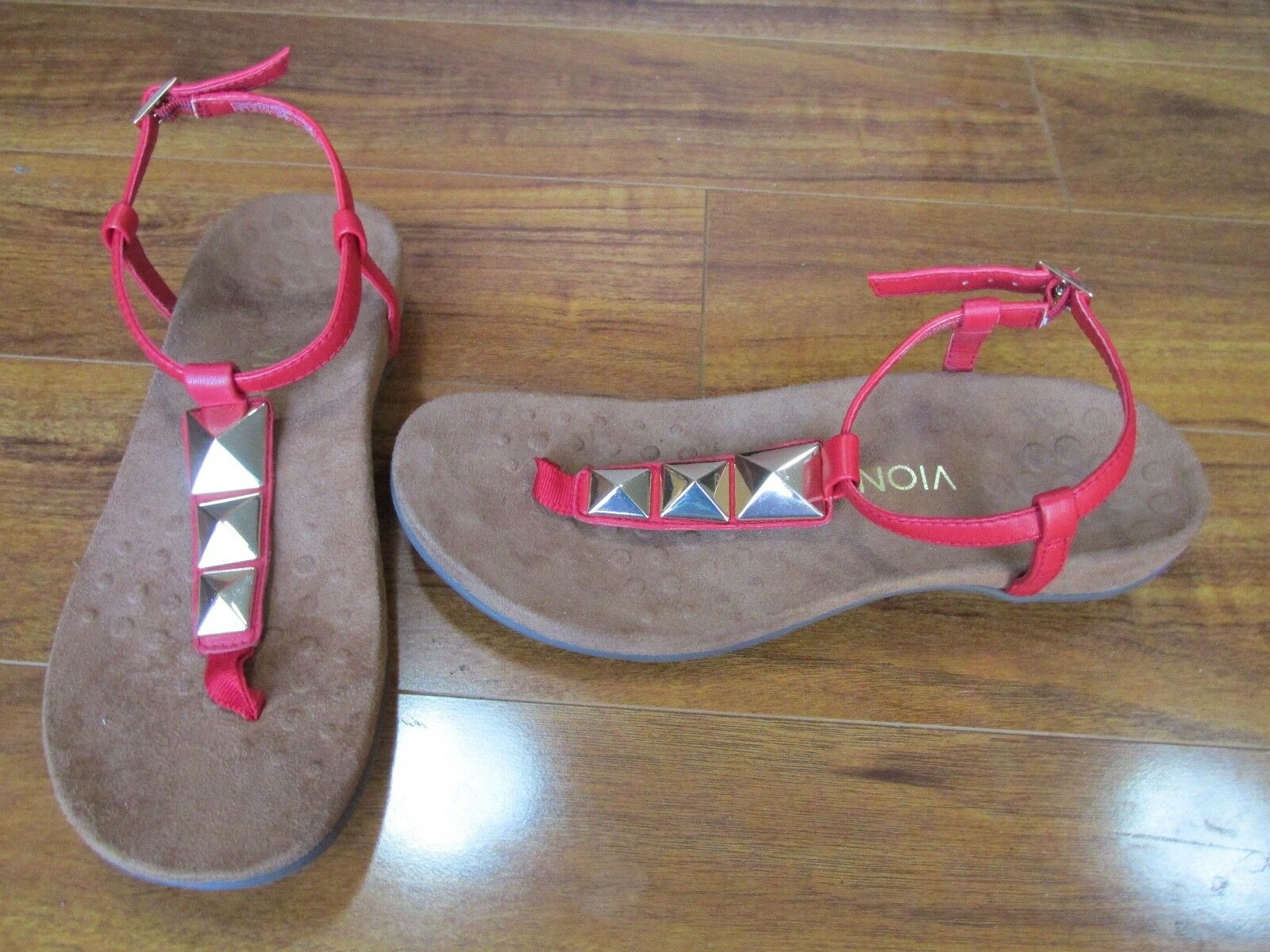 NEW Vionic Rest Nala T-Strap Sandals Womens sz 9 Red
