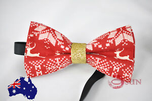 Father Son Match 100/% Cotton Xmas Christmas Leaves Black Bow Tie Bowtie