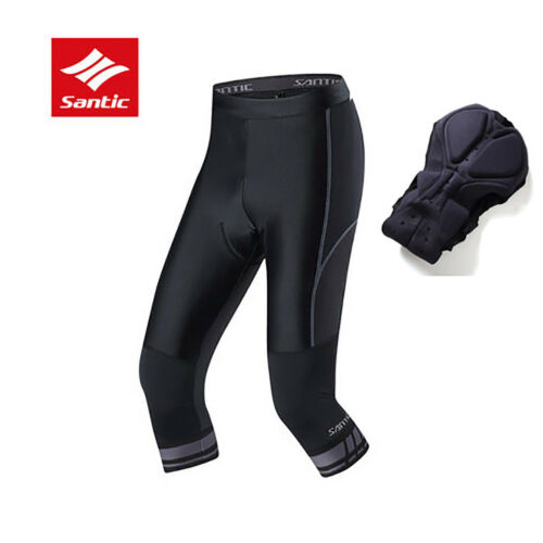 Santic Bike Cycling Cropped Trousers Sport Equipment Breathable Pad Shorts Black