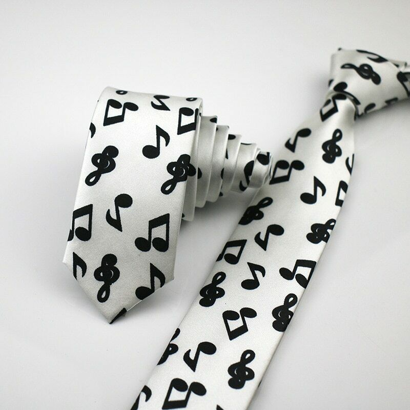 Unisex Novelty Fancy Dress White & Black Musical Note Skinny Tie - Brand New