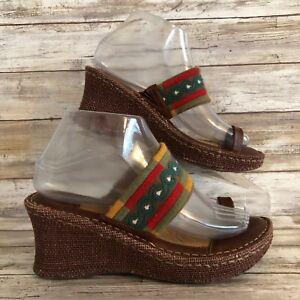 Born-8M-Brown-Textile-Leather-Toe-Loop-Wedge-Heel-Slide-Sandals-Casual-Womens