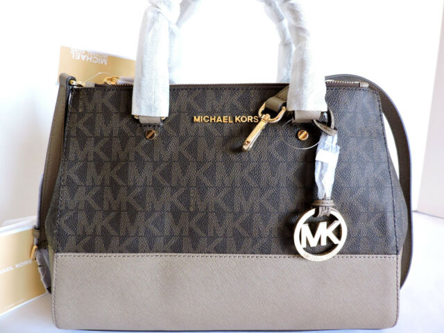 2edcb33bb4ae MICHAEL Michael Kors Sutton Signature Brown/Dark Dune Medium Satchel Bag NWT