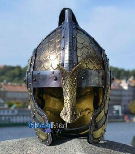 18GA SCA LARP Medieval bogato engraved fantasy norman viking helmet II replica