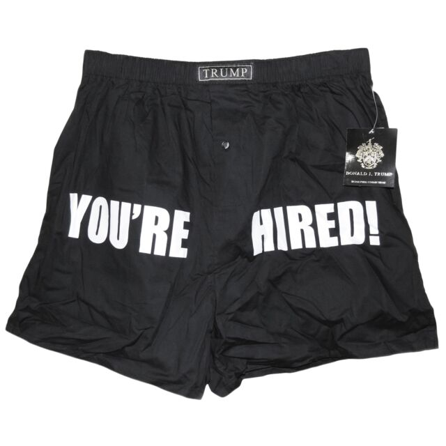 President Elect Donald Trump YOU'RE HIRED Boxer Shorts Black 100% Cotton Size M