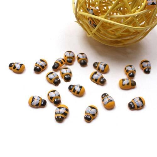 100Pcs Mini Bees Wooden Ladybug Self-adhesive Stickers Scrapbooking Decoration