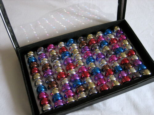 100 Acryl- Ringe Metallic im Display - Restposten #Br