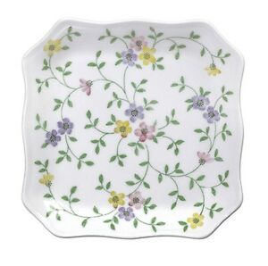 "Set of 4, 6.5"" Square Garden Bouquet Dessert Plates"