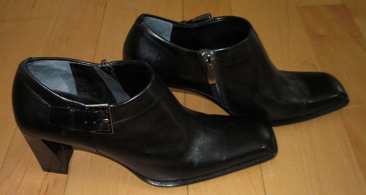 Linea Paolo Cuero Negro Tobillo Fashion botas 7.5 Hecho En Italia  Sharp debe C