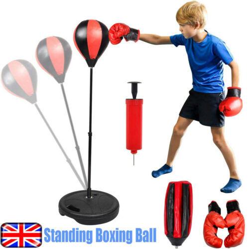 Punch Ball Set Free Standing Adjustable w//Boxing Bag Gloves Speed Training Tool