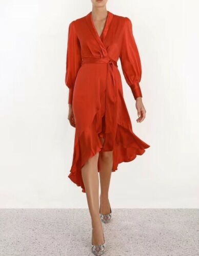 New Temperament Womens Satin Silk Blend Occident Belt Irregular Falbala Dress Sz