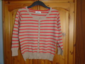 1-Coral-and-beige-striped-waist-length-3-4-sleeve-cardigan-ATMOSPHERE-size-14