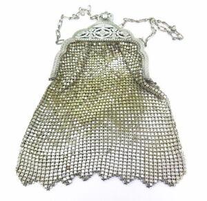 Antique-Ornate-Metallic-Silver-Gold-Tone-Mesh-Whiting-amp-Davis-Co-Bag-1920-039-s