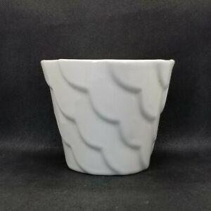 Vintage Mid Century Modern Scalloped White Alamo Pottery Planter 829-5