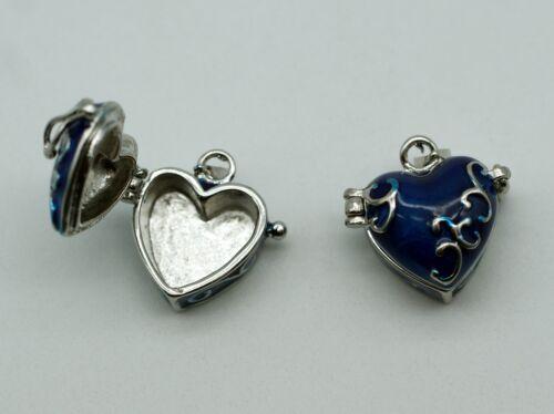 2242 1 Stück Anhänger Medaillon Herz Emaille Kästchen 24 mm Platin Blau