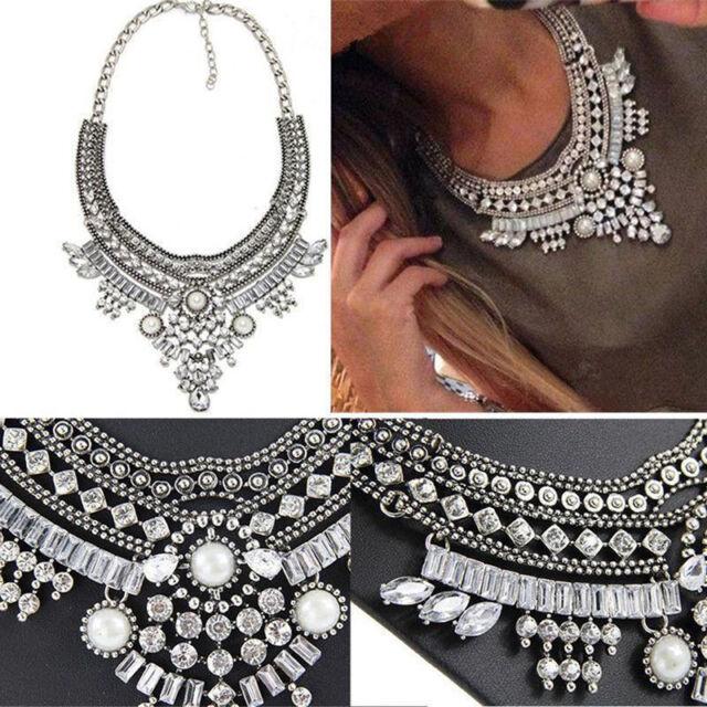 Boho Women Necklace Chain Crystal Choker Chunky Bib Statement Pendant Jewelry