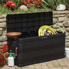 Baule Contenitore Multiuso 280L Grigio Multibox Esterno Giardino Elegance Nero