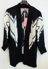 Pink Soda Over Sized Aztec Cardigan Black Cream Size 8 BNWT RRP £35 Uk Freepost