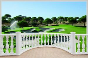 Huge-3D-Balcony-Golf-Fairway-Wall-Stickers-Mural-Wallpaper-294