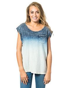 shirt Ladies Rip T shirts Blue T To Curl Fade vFxqx6fX