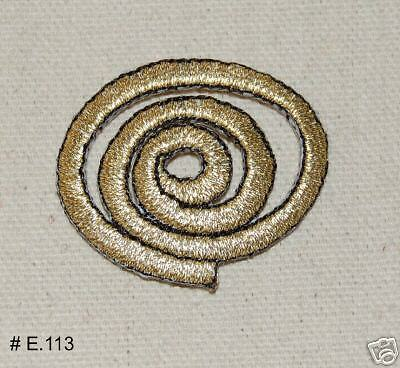 3PC~GOLD ROUND SWIRL~IRON ON EMBROIDERED APPLIQUE PATCH