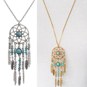 Retro-Dream-Catcher-Turquoise-Feather-Charm-Pendant-Long-Chain-Necklace-Jewelry
