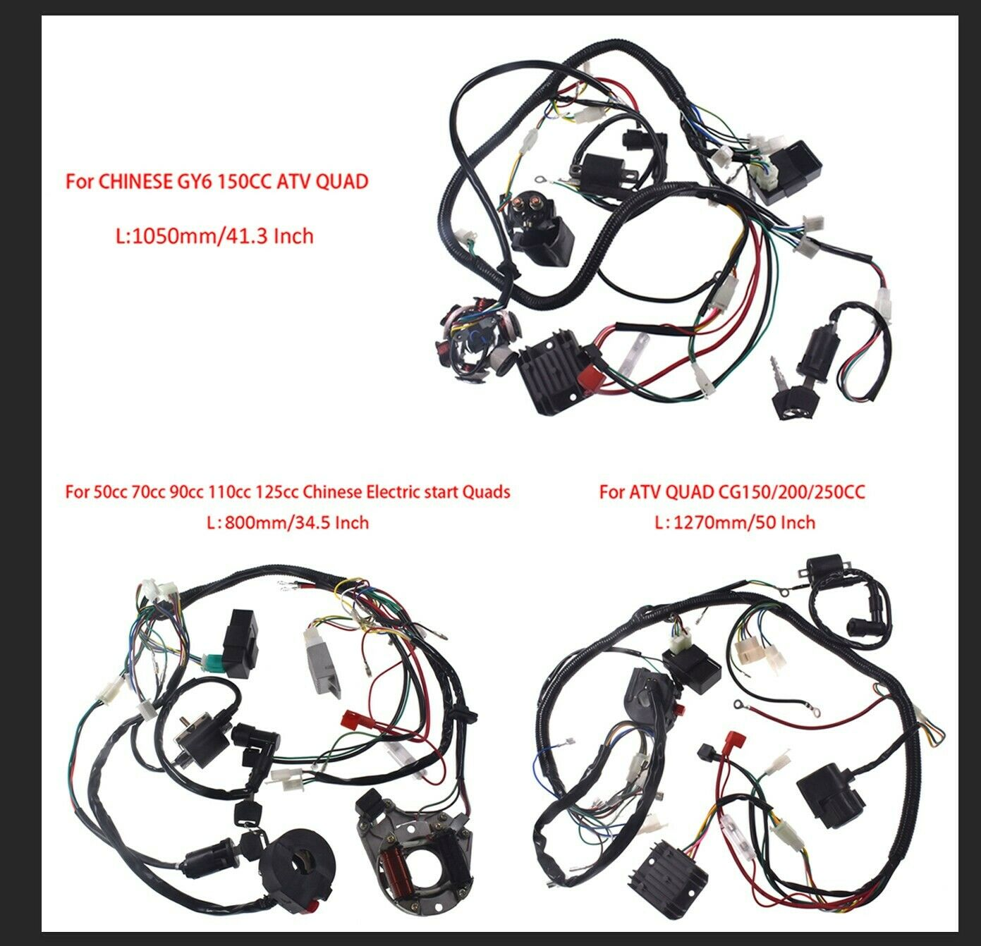 Wire Harness Assembly Wiring Kit Fits  GY6 150cc 50-125cc Quad CG150cc Go Kart  good quality