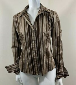 New-York-And-Company-Long-Sleeve-Folded-Cuffs-Career-Blouse-Shirt-Womens-Size-XS