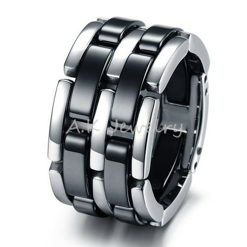 NEW 13mm Black Ceramic 5 in 1 Mens High Tech Wedding Band Ring Jewelry FREE S&H