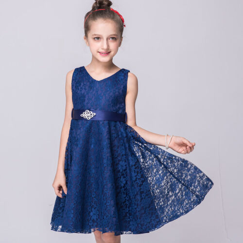 Flower Girls Kids Dress Lace Princess Formal Pageant Wedding Birthday Party Prom