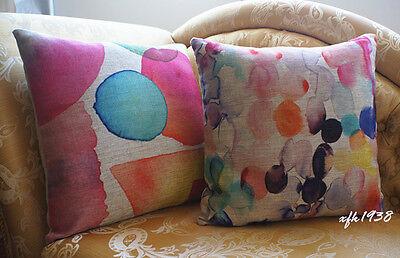 Vintage Cotton Linen Cushion Cover Pillow Case Home Decor Watercolor Painting