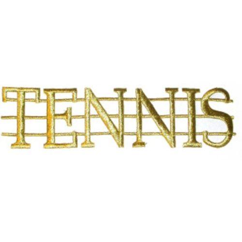 Tennis /'Net/' Large Metallic Gold Iron On Applique x 1