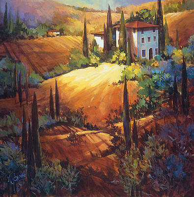 Nancy O'Toole: Morning Light Tuscany Keilrahmen-Bild Leinwand Toskana Landschaft