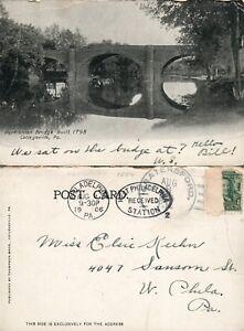 COLLEGEVILLE-PA-PERKIOMEN-BRIDGE-1906-UNDIVIDED-ANTIQUE-POSTCARD