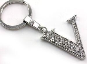 Clear Name Alphabet Initial Letter V Car Keychain Key Ring Wedding