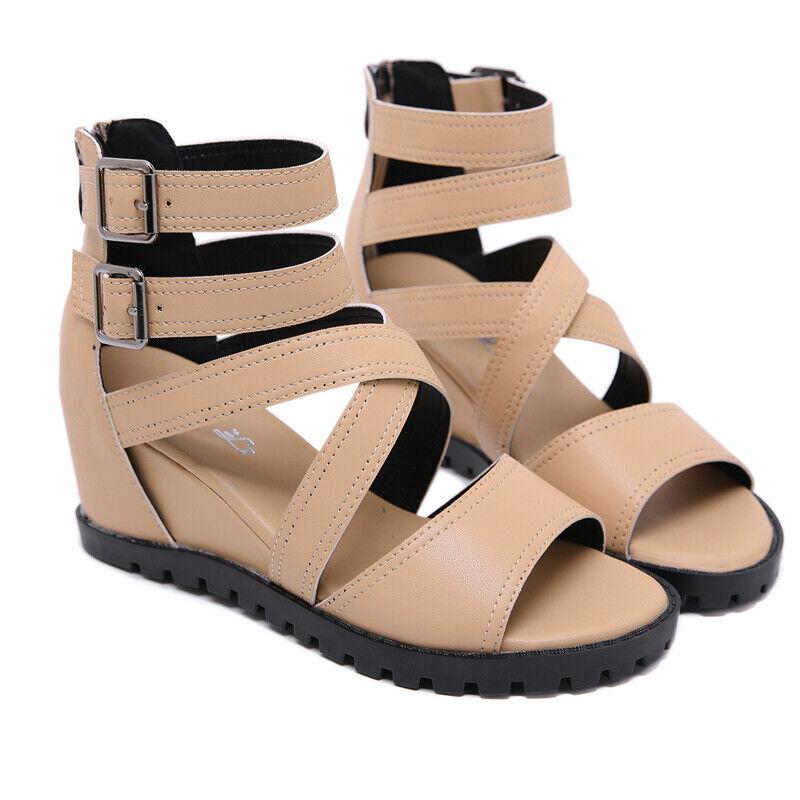 Hausschuhe Elegant Sandalen Keilabsätze 7 cm Beige Komfortabel Leder Kunststoff