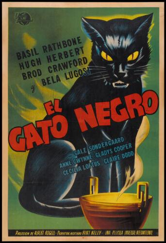 A1 PRINT  VINTAGE ADVERT black cat film movie old painting art film el Gato