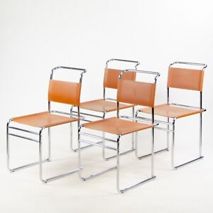 Set Of 4 Marcel Breuer B5 Dining Chairs Chrome Leather Bauhaus Tecta Thonet Ebay