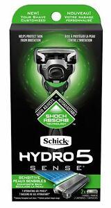 Schick-Hydro-5-Sense-Sensitive-Skin-Shock-Absorb-Razor-1-Handle-amp-2-Cartridges-g